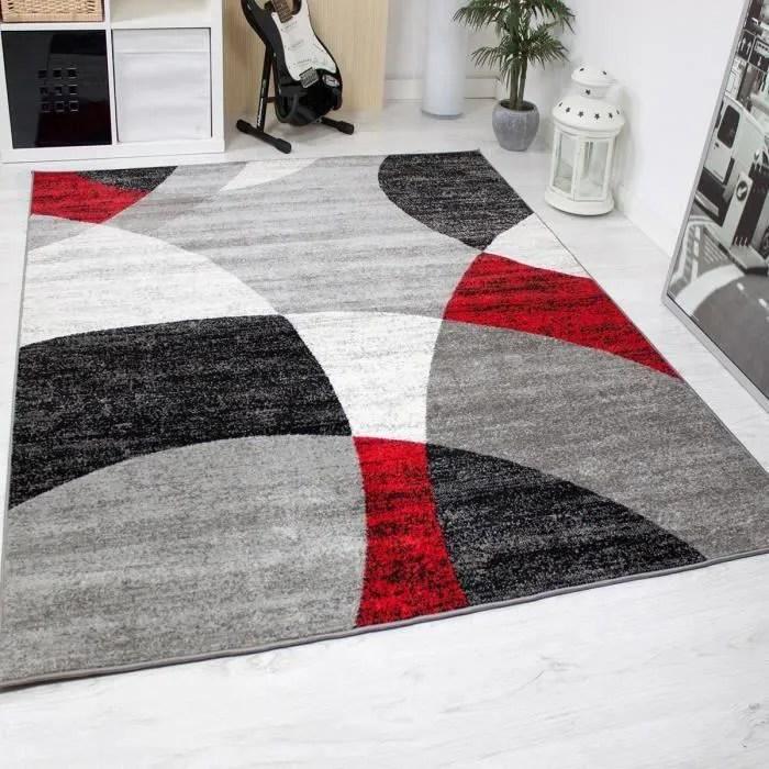 tapis pour le salon gris blanc noir et rouge 160 x 220 cm