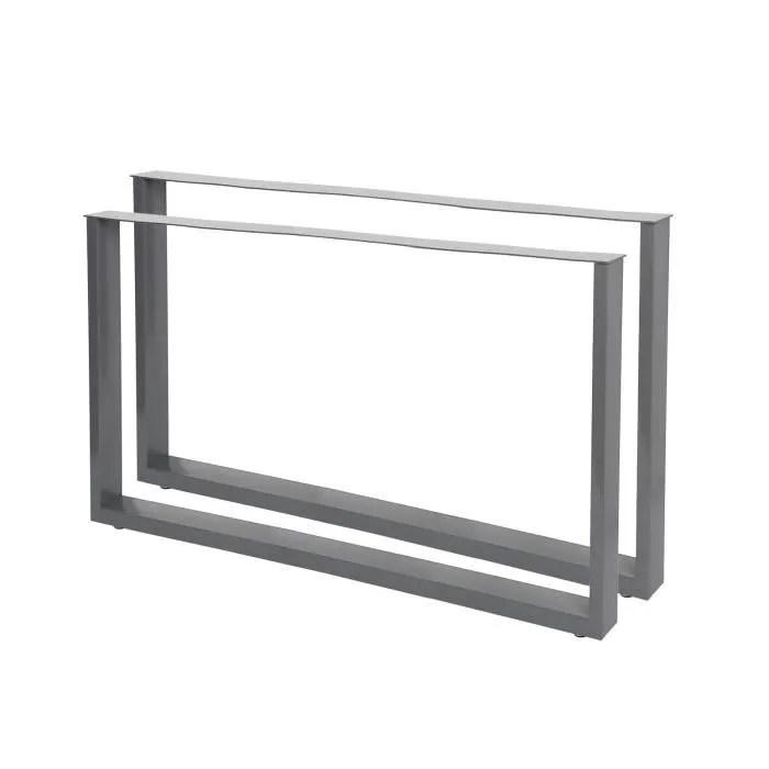 pieds de table en profil carre 64x40cm gris revete