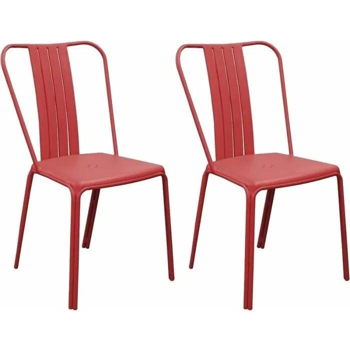 chaises en aluminium azuro lot de 2 rouge