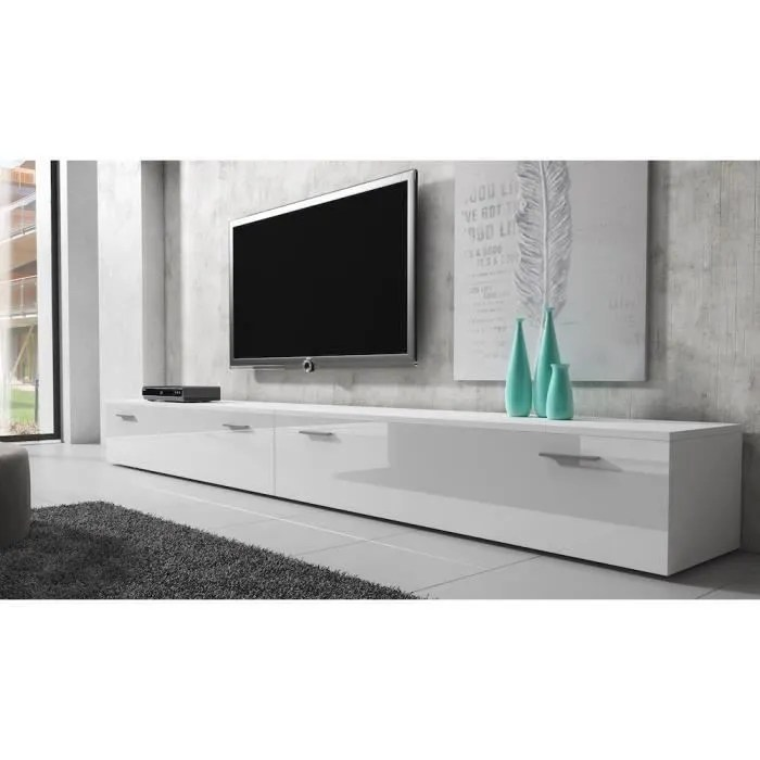 boston meuble tv contemporain decor blanc 300 c