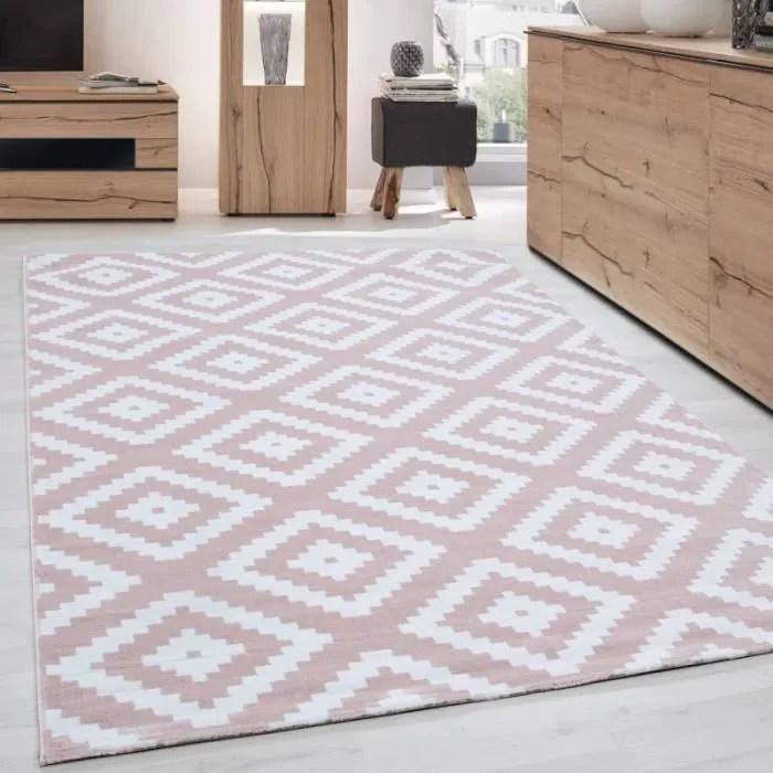 tapis de salon moderne designe elegance courte pile rose poudre blanc 80x150 cm