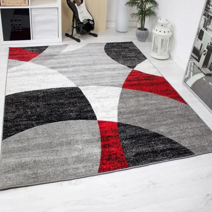 tapis pour le salon gris blanc noir et rouge 120x170 cm