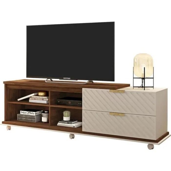 meuble tv 180 cm tv 75 pouces wenge ecru caemmum
