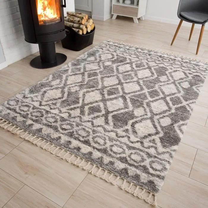 tapiso versay fringes tapis salon moderne ethnique