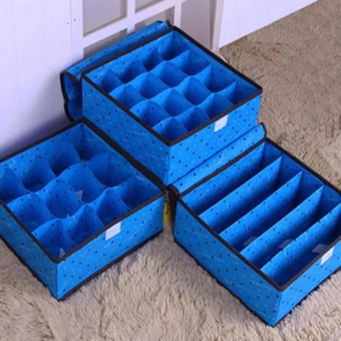 3x boite rangement pour sous vetement pliable sans couvercle linge sous vetements bleu