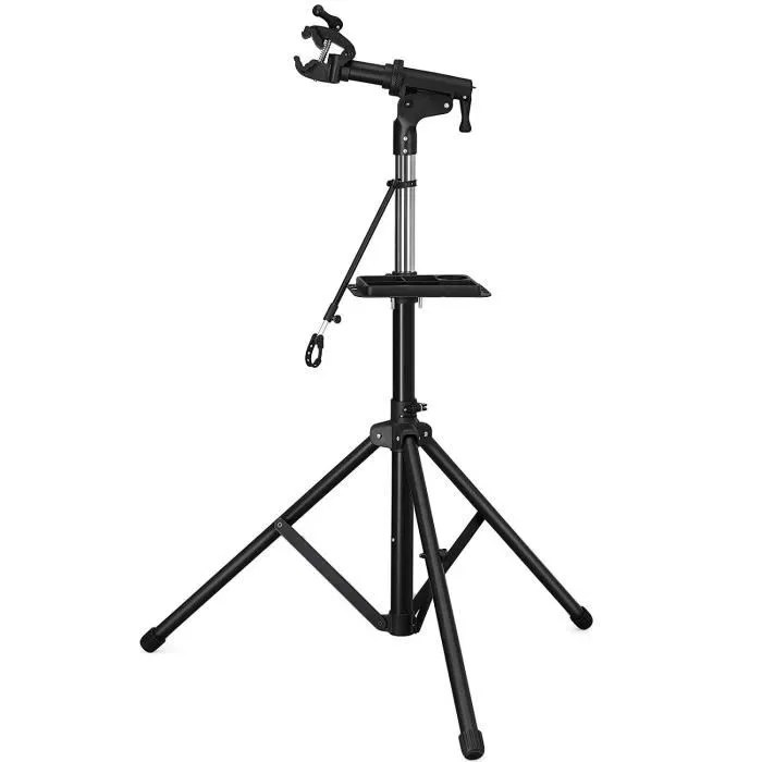 songmics pied d atelier premiun reglable en hauteur de 115 a 159 cm support de reparation avec plateau noir sbr03b