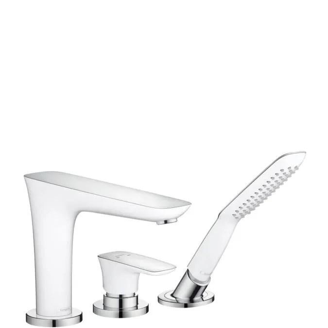 hansgrohe puravida set de finition mitigeur 3 trous pour montage sur bord de baignoire chrome blanc 15432400