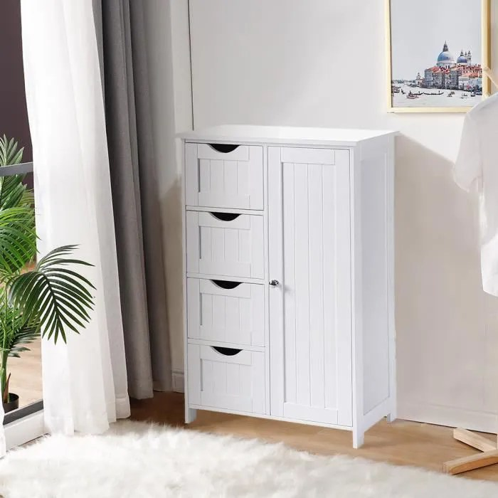 meubles de rangement avec 4 tiroirs commode armoire blanche pour chambre salle de bain 60 30 80cm