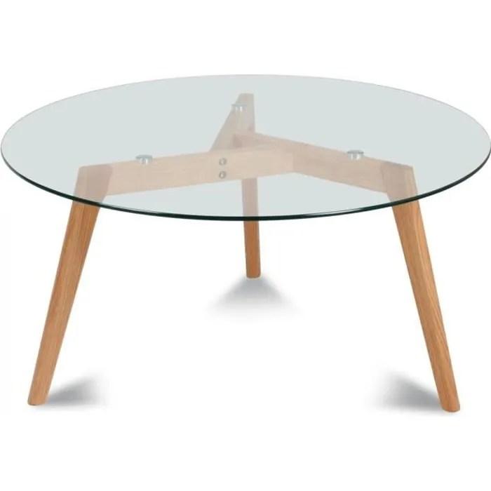table ronde verre et bois