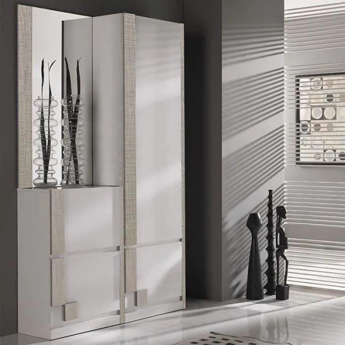 vestiaire d entree blanc et couleur bois clair mod