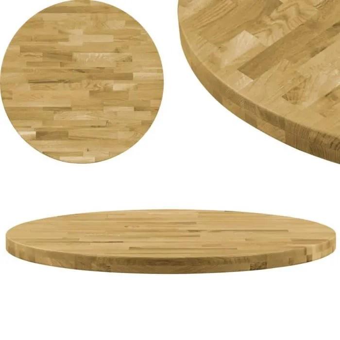 plateau de table dessus de table bois de chene massif rond 44 mm 900 mm