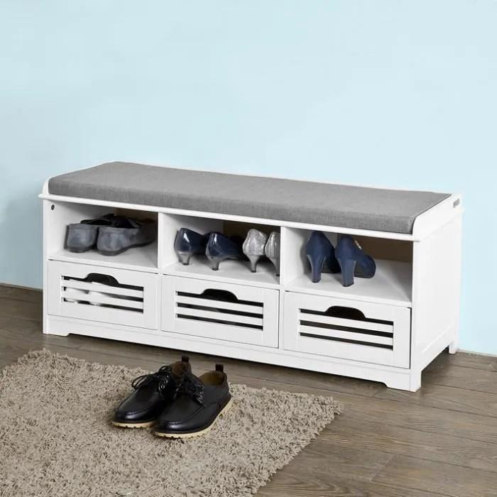 sobuy fsr36 w meuble d entree banc de rangement a chaussure avec coussin rembourre 3 compartiments ouverts et 3 cubes