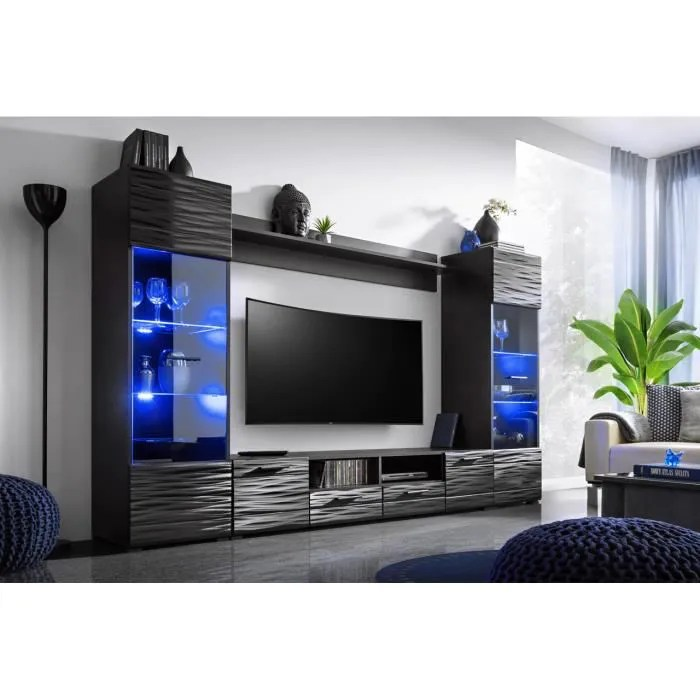 meuble salon queen 260 cm noir laque tv