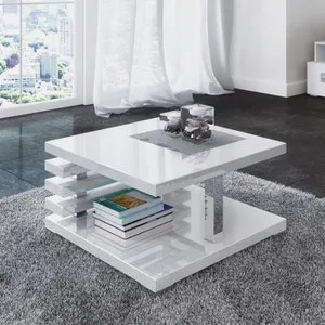 table basse carre laquee blanc