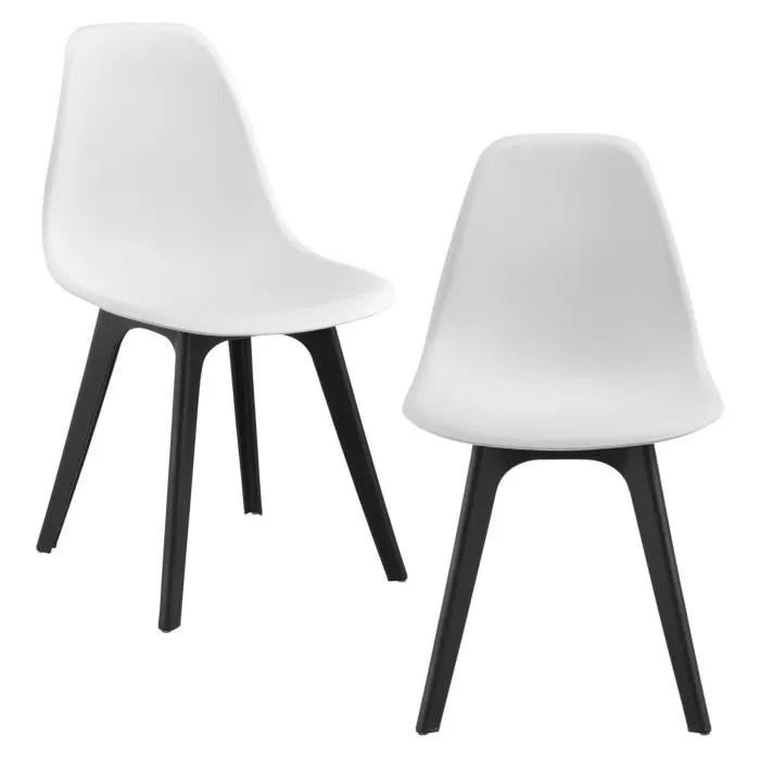 en casa set de 2 chaises design chaise de cuisine chaise de salle a manger plastique bois blanc et noir 83 x 54 x 48 cm