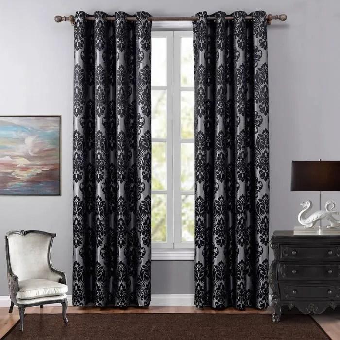 rideaux occultants polyester jacquard noir 1