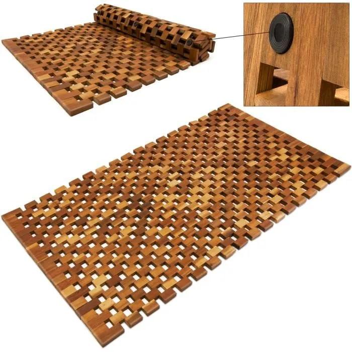 tapis de bain bambou