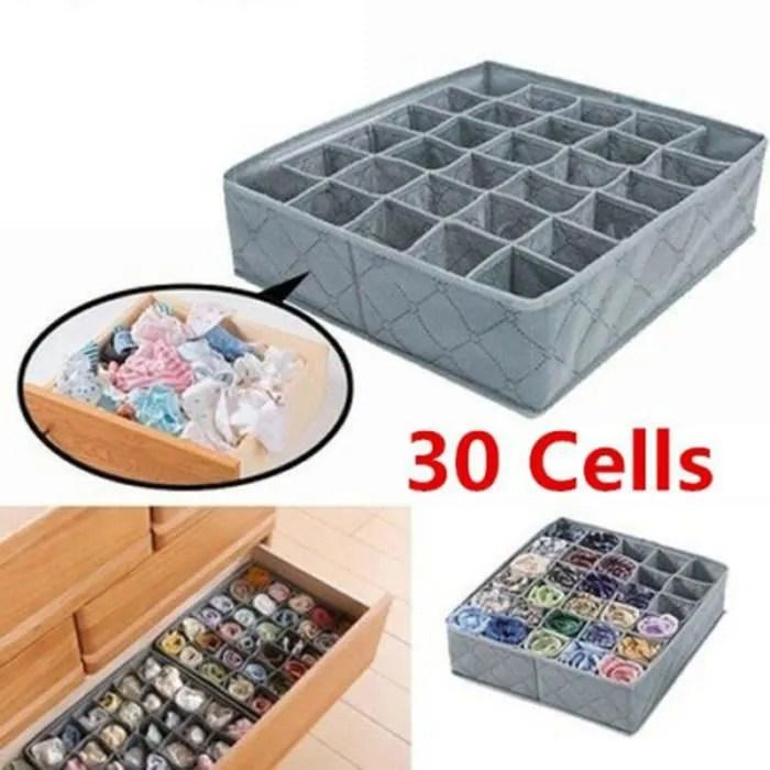 30 grilles sous vetements chaussettes tiroir de rangement placard boite de rangement en charbon de bambou