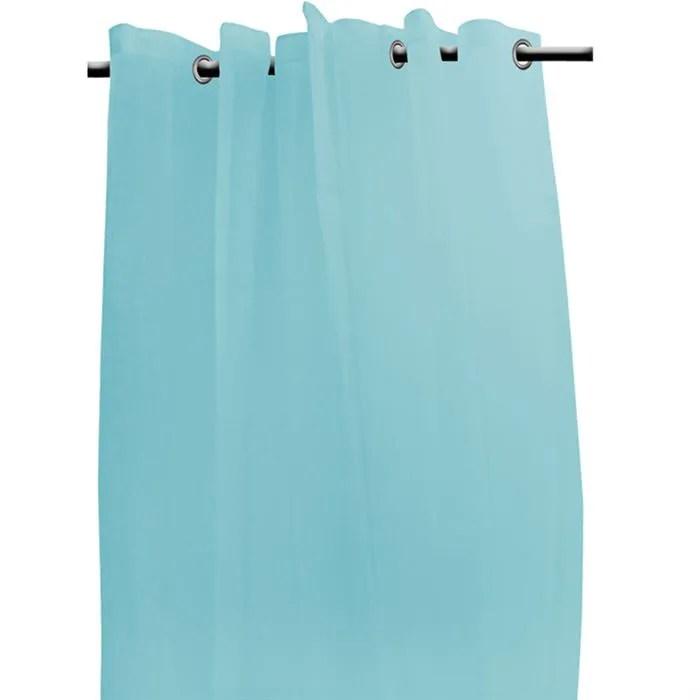voilage turquoise a oeillets metal 135x250 cm