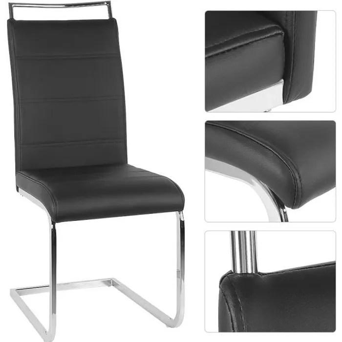 lot de 6 chaises mia noires pour salle a manger revetement en pvc imitation cuir