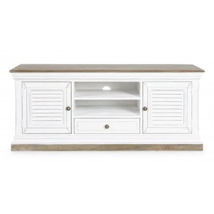 meuble tv en bois coloris blanc dim l 140 x p