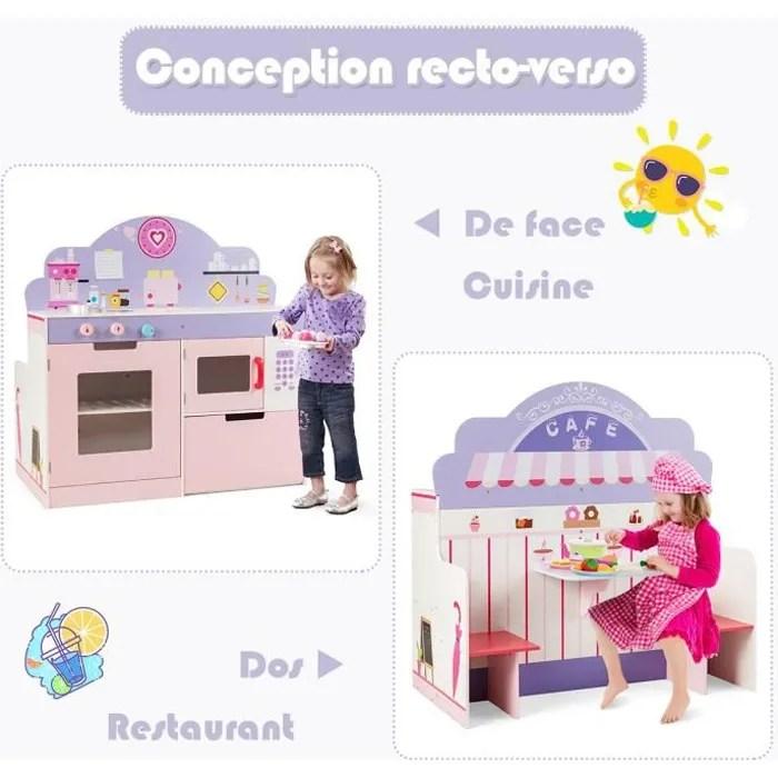 costway cuisine pour enfant en bois a 2 cotes pour role de cuisinier et de client avec effet sonore avec accessoires age 3