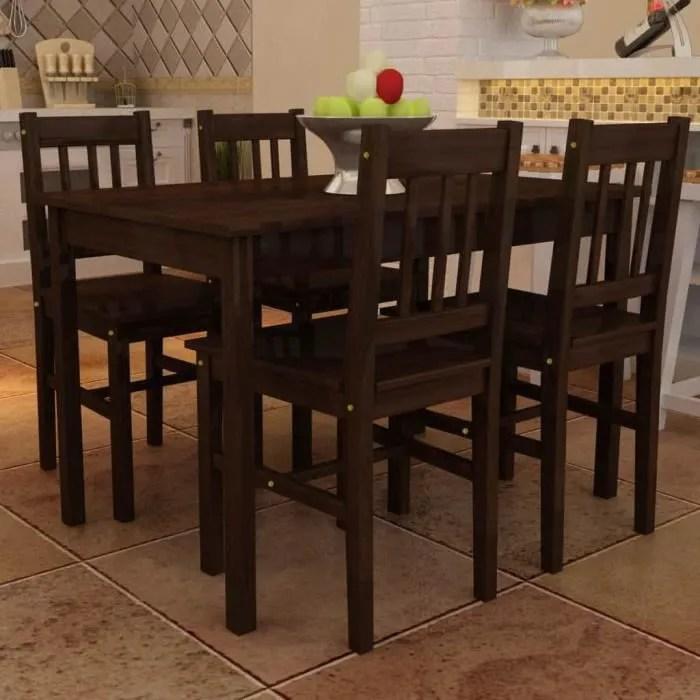 table de salle a manger avec 4 chaises marron