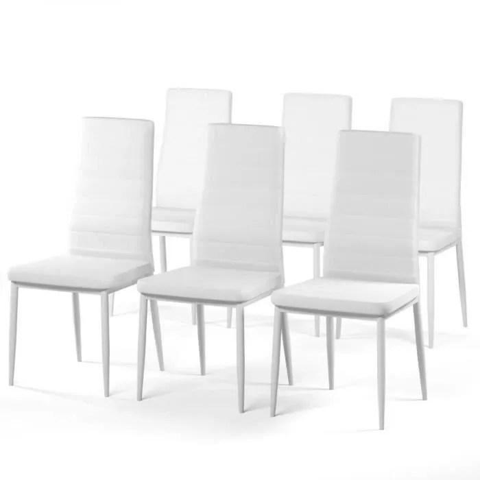 sam lot de 6 chaises de salle a manger en simili blanc style contemporain l 50 x p 44 cm