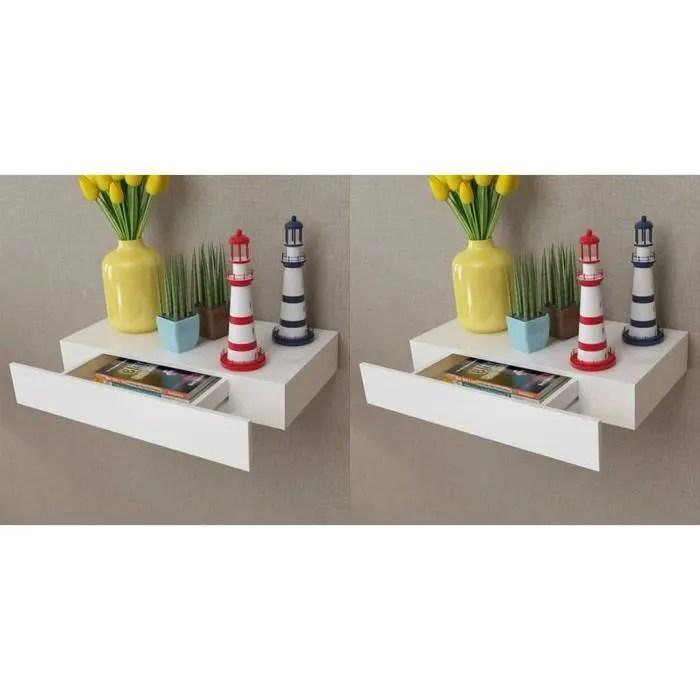 lia etageres murales avec tiroirs 2 pcs blanc 48 cm