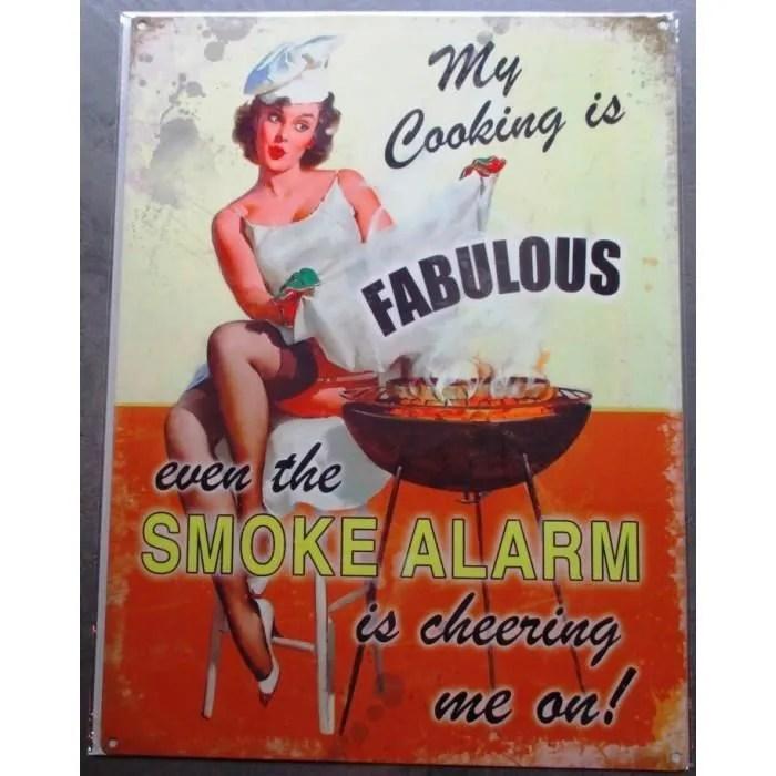 plaque pin up et barbecue smoke alarm deco cuisine bar