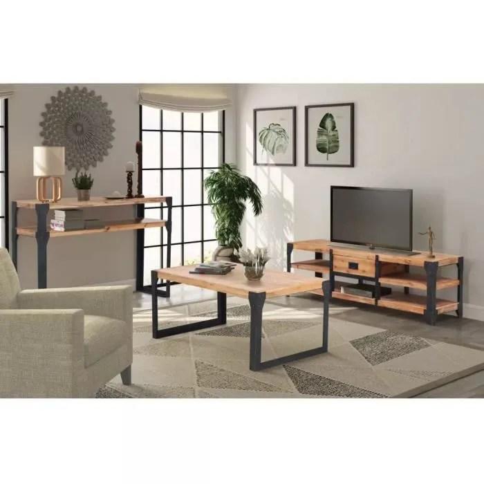 ensembles de meubles de salon sejour mobilier de salon 3 pieces bois d acacia massif