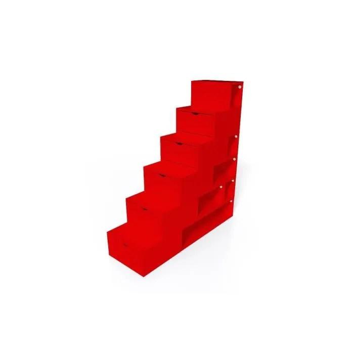 escalier cube de rangement hauteur 150cm couleur rouge