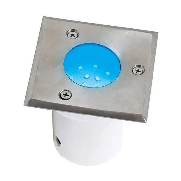 spot led etanche carre bleu 1 2w ip67 encastrable au sol dim 95x95x95mm