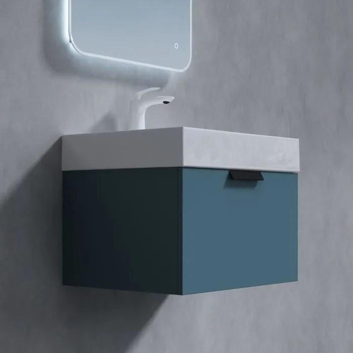 sogood meuble sous vasque bleu vert 60cm et lavabo
