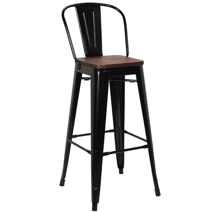 chaise haute industrielle en metal noir et bois valerianne lot de 4 noir 47 x p 43 x h 106 cm
