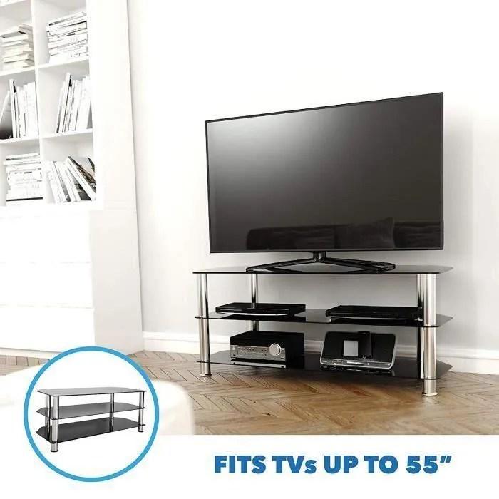 meuble tv en verre noir