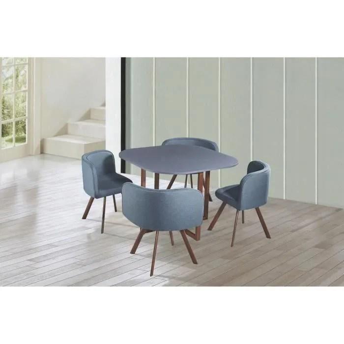 ensemble table 4 chaises encastrables gris flen