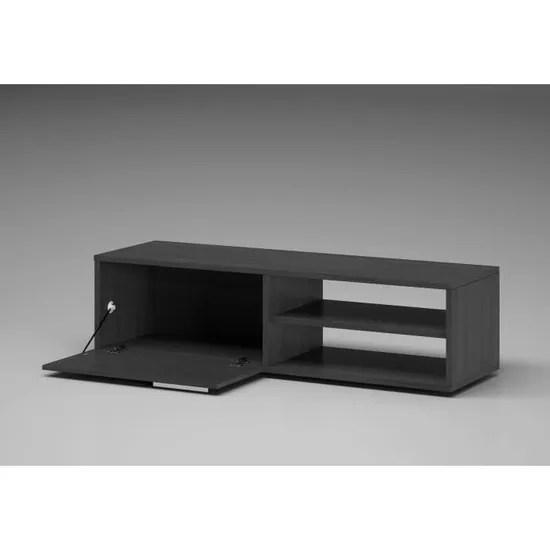 kikua meuble tv contemporain melamine gris cendre l 130 cm