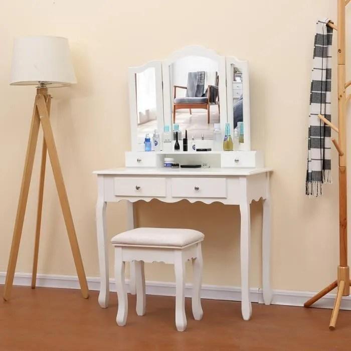 grande coiffeuse table de maquillage avec miroir a 3 volets 4 tiroirs et 1 tabouret style champetre blanc