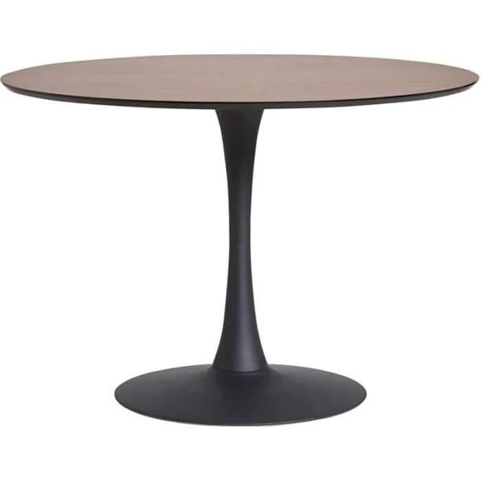 table de repas ronde noyer noir pied central still l 110 x l 110 x h 75