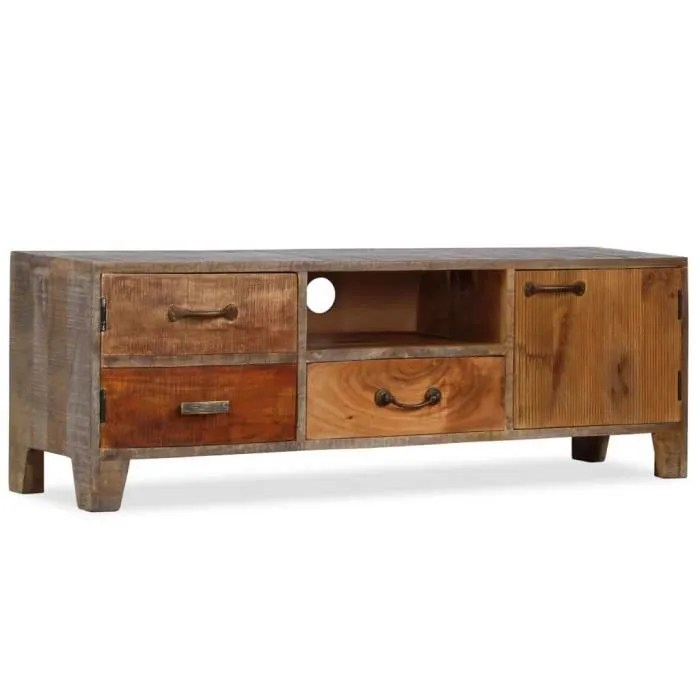 milliontek meuble tv bois massif vintage 118 x 30