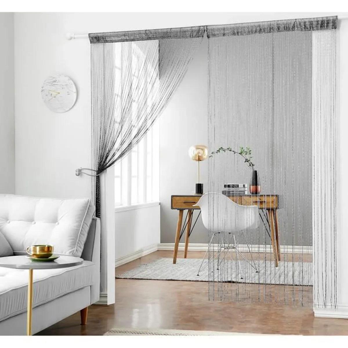 hsylym rideau de fil decoration pour fenetres ou portes 35inx79in noir