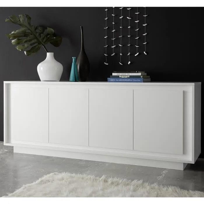 bahut blanc laque mat design nevada l 207 x p 50 x h 80 cm blanc