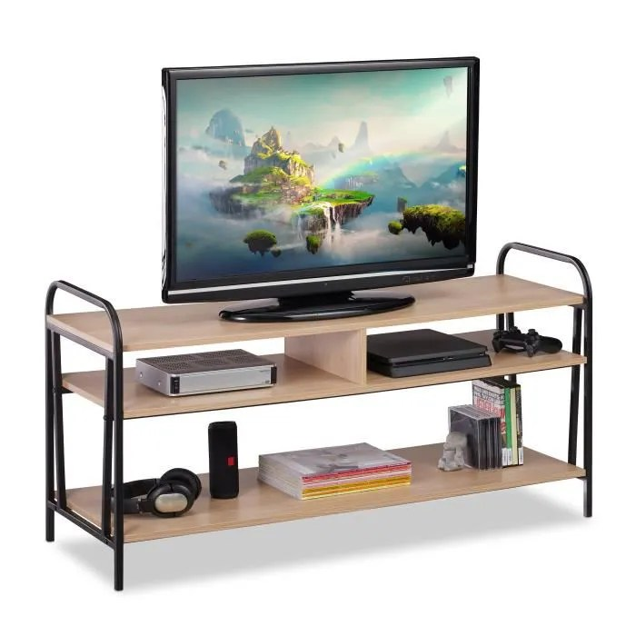 relaxdays meuble tv style industriel