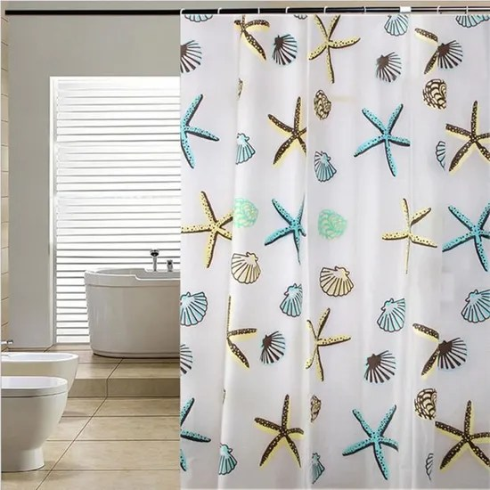 rideau de douche seashell etoiles de mer peva decoration salle de bain 180 200cm