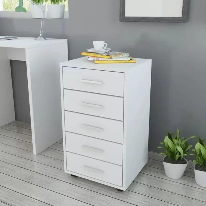 caisson a tiroir de bureau avec roulettes et 5 tiroirs blanc