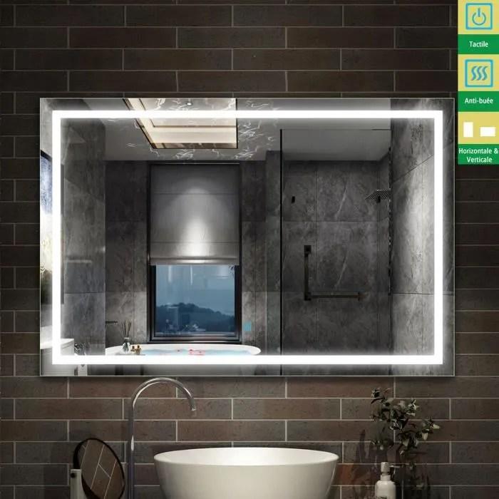 Miroir Salle De Bain 110 X 80cm Anti Buee 24w Blanc Interrupteur Tactile Miroir Grand Miroir Mural Rectangulaire 4mm Blanc Achat Vente Miroir Salle De Bain Soldes Sur
