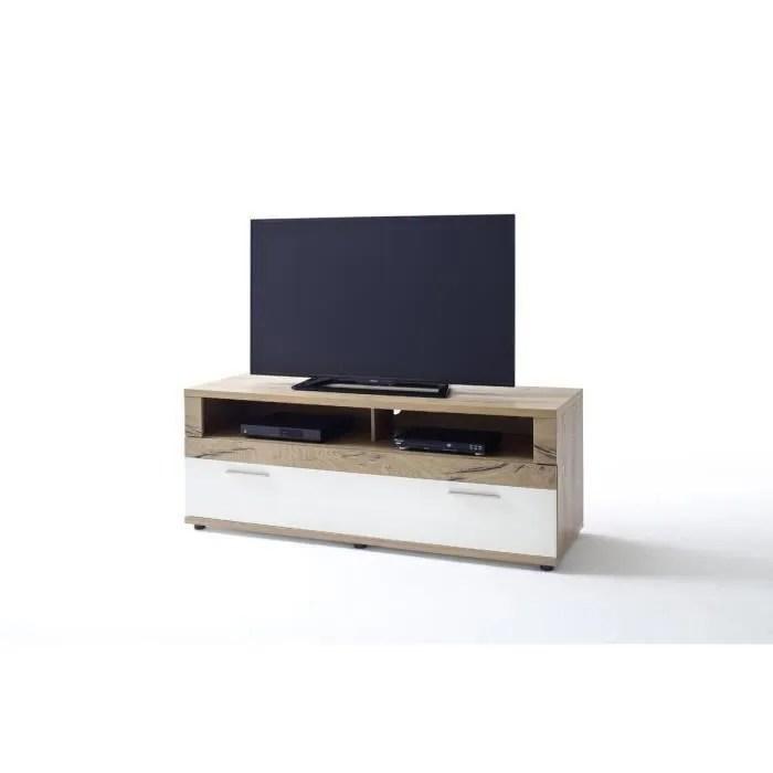 meuble tv blanc laque chene