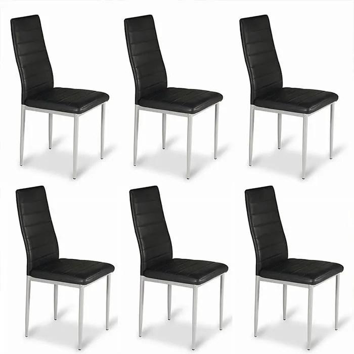 lot de 6 chaises salle a manger noires lena designetsamaison