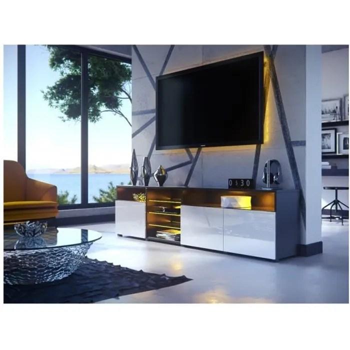 meuble tv massimo 200 cm noir mat et